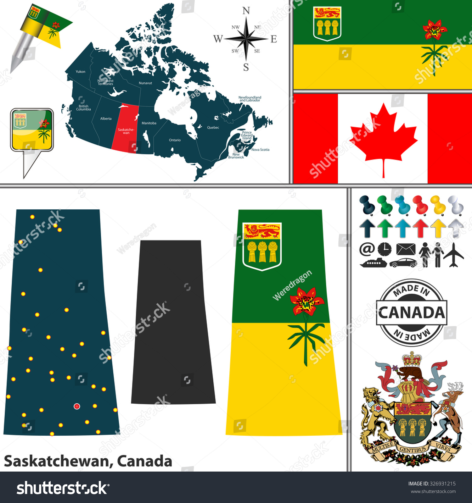vector map state saskatchewan coat arms stock vector 326931215