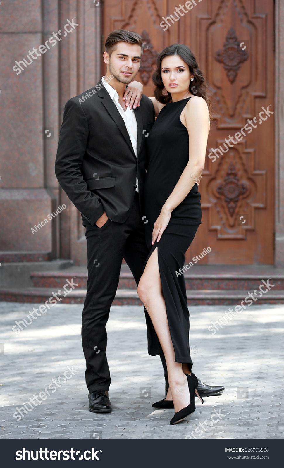 Elegant Couple Pose Outdoors Stock Photo Edit Now 326953808
