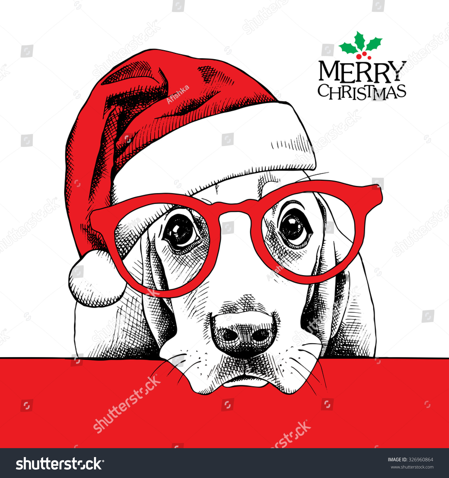 Christmas card. Dog Basset Hound portrait in red Santa\'s hat and ...
