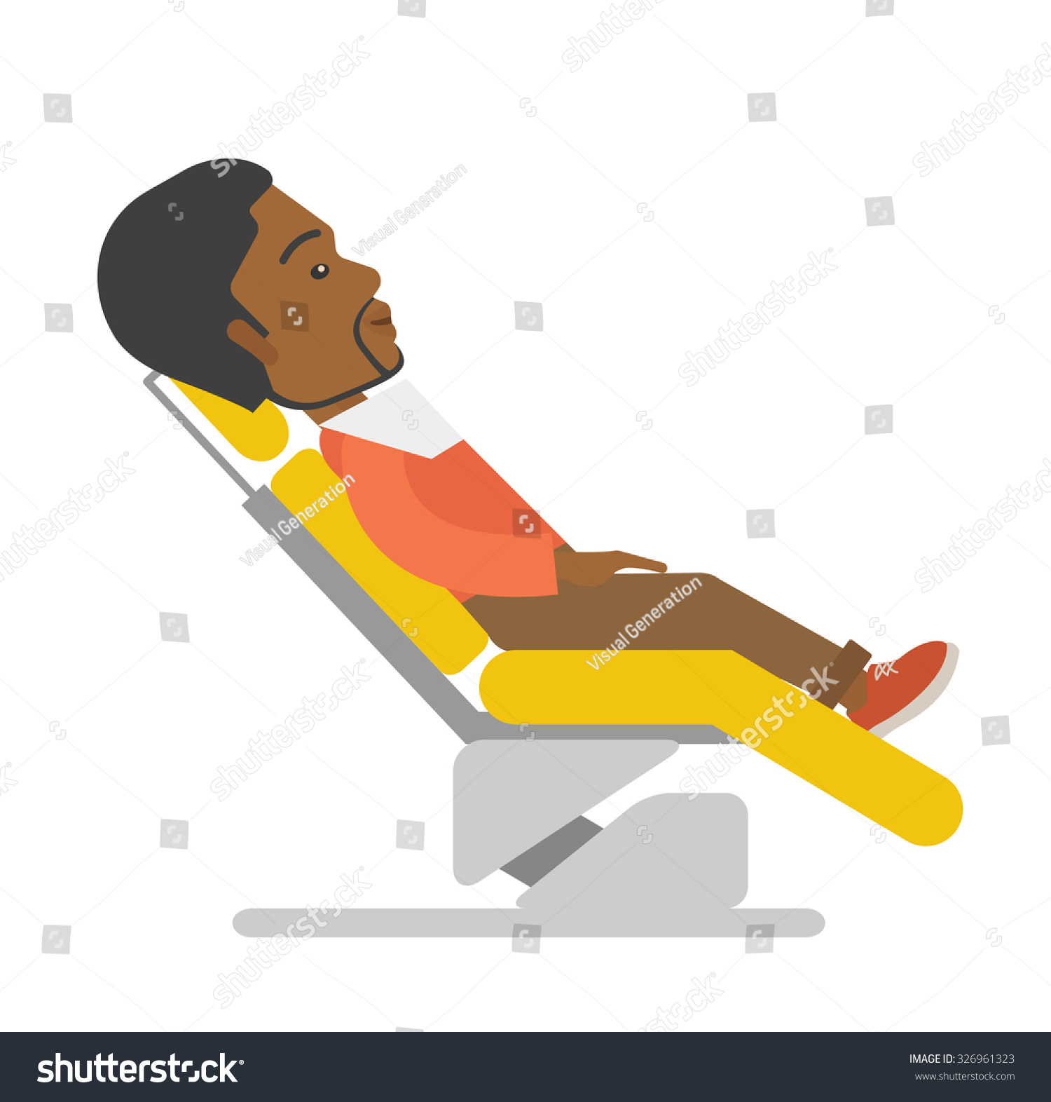 African American Patient Sitting Dental Chair Stock Vector