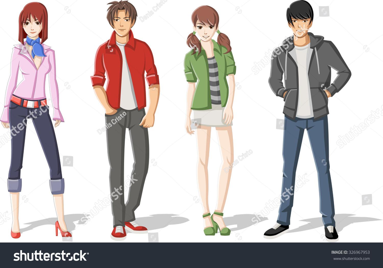 Group Cartoon Young People Manga Anime Stock Vector ...