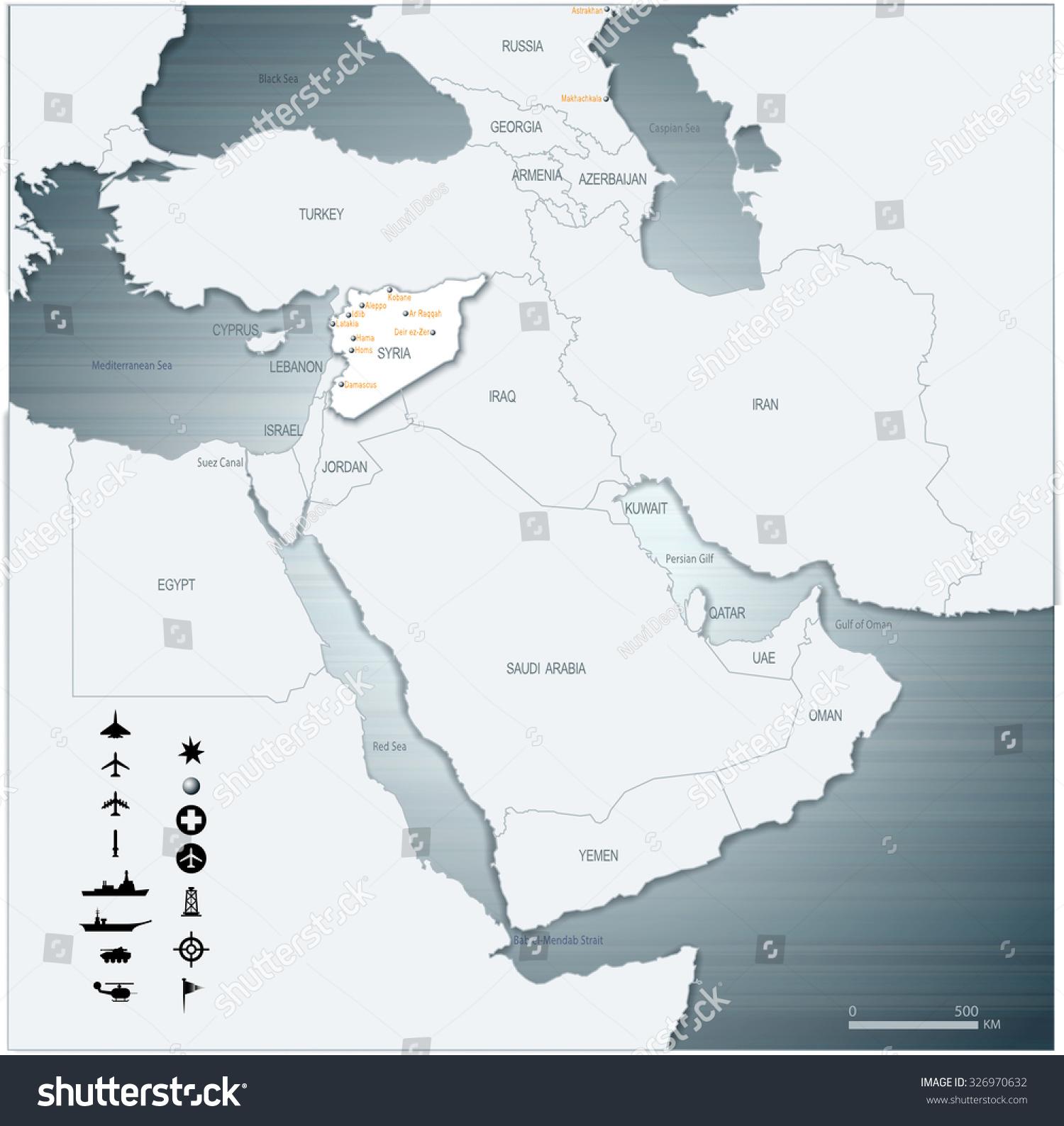 Vector map middle east syria war stock vector 326970632 shutterstock vector map of middle east syria with war legend 3d illustration eps10 gumiabroncs Choice Image