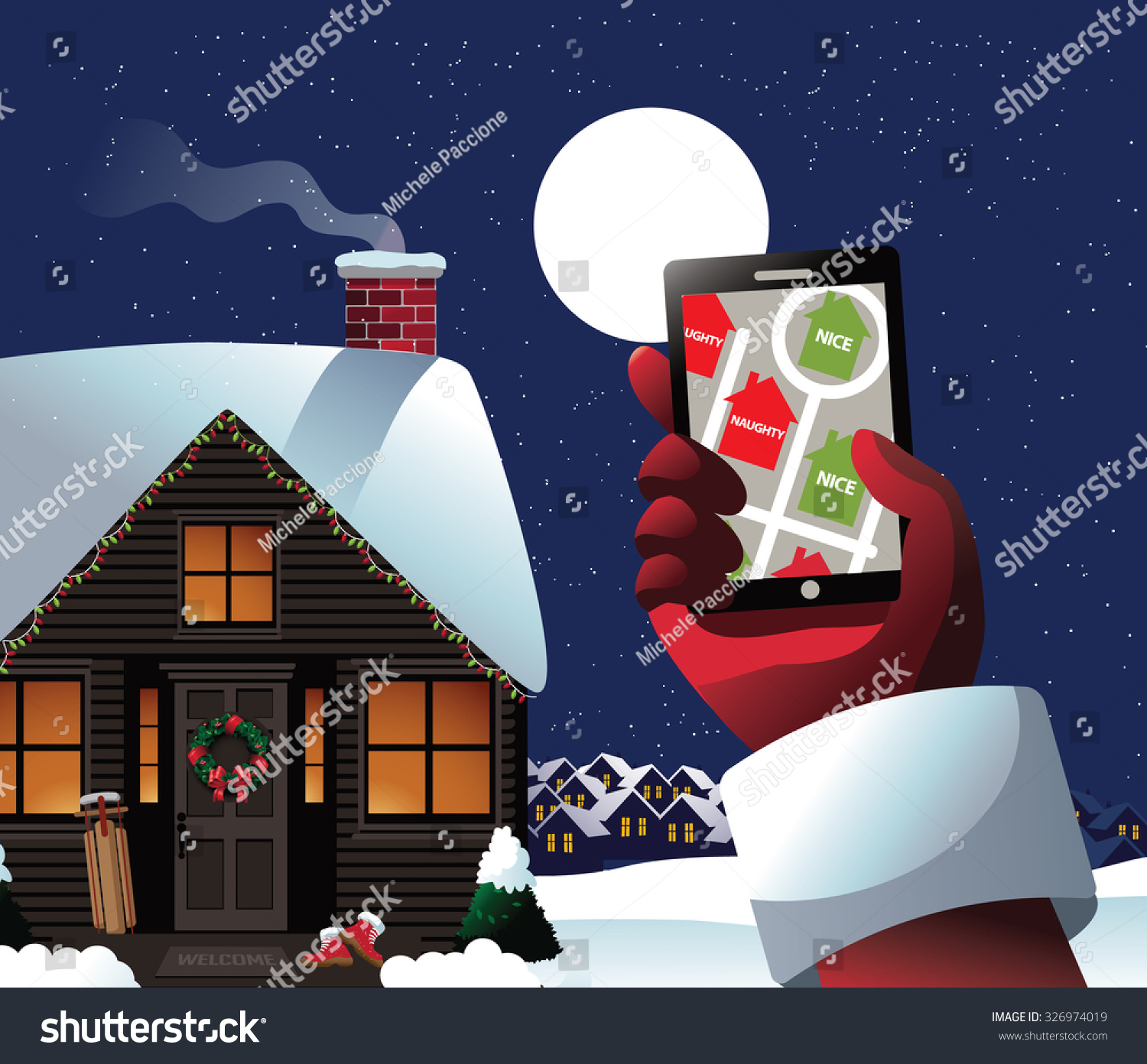 Santa checks his gps see whos stock illustration 326974019 santa checks his gps to see whos naughty or nice royalty free stock illustration for m4hsunfo