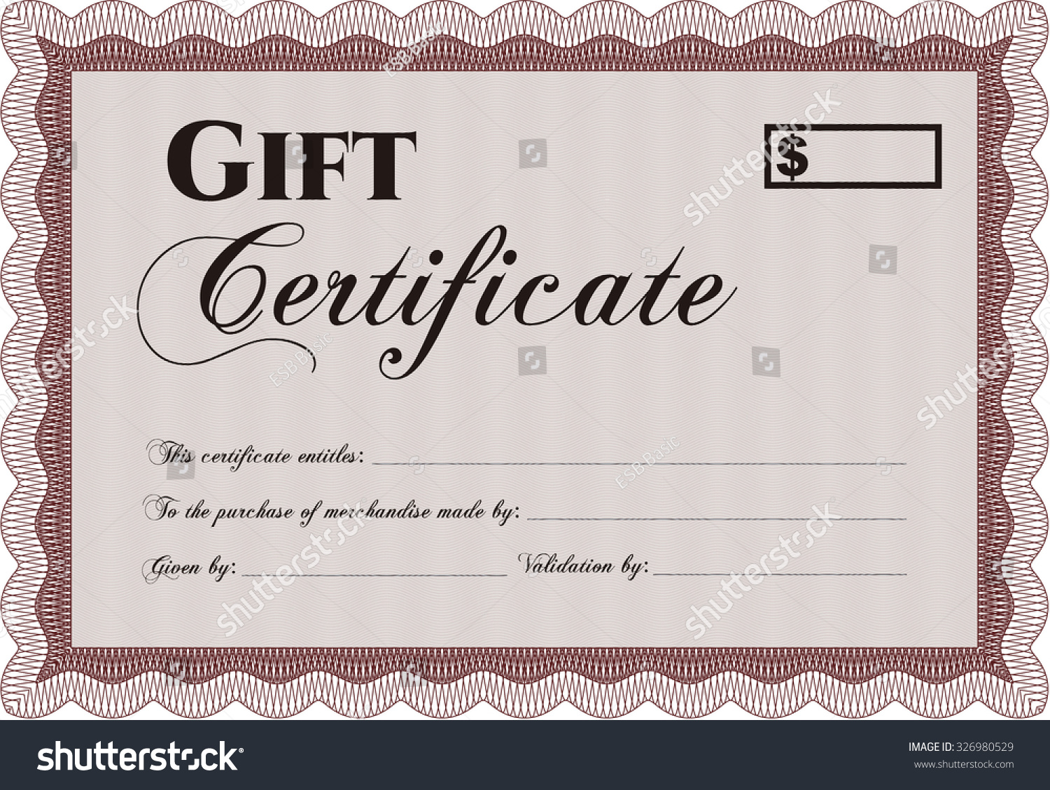 Gift Certificate Template Easy Print Customizable Stock Vector