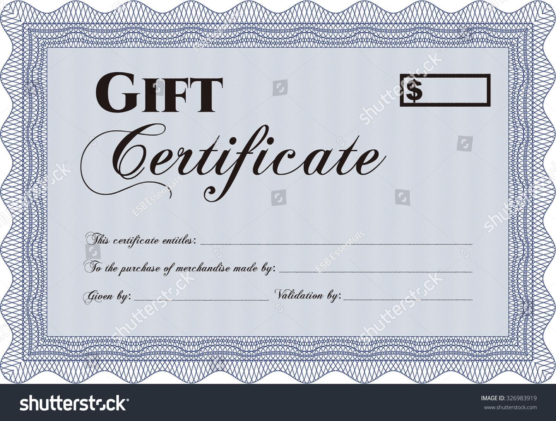 Vector Gift Certificate Template Cordial Design Stock Vector