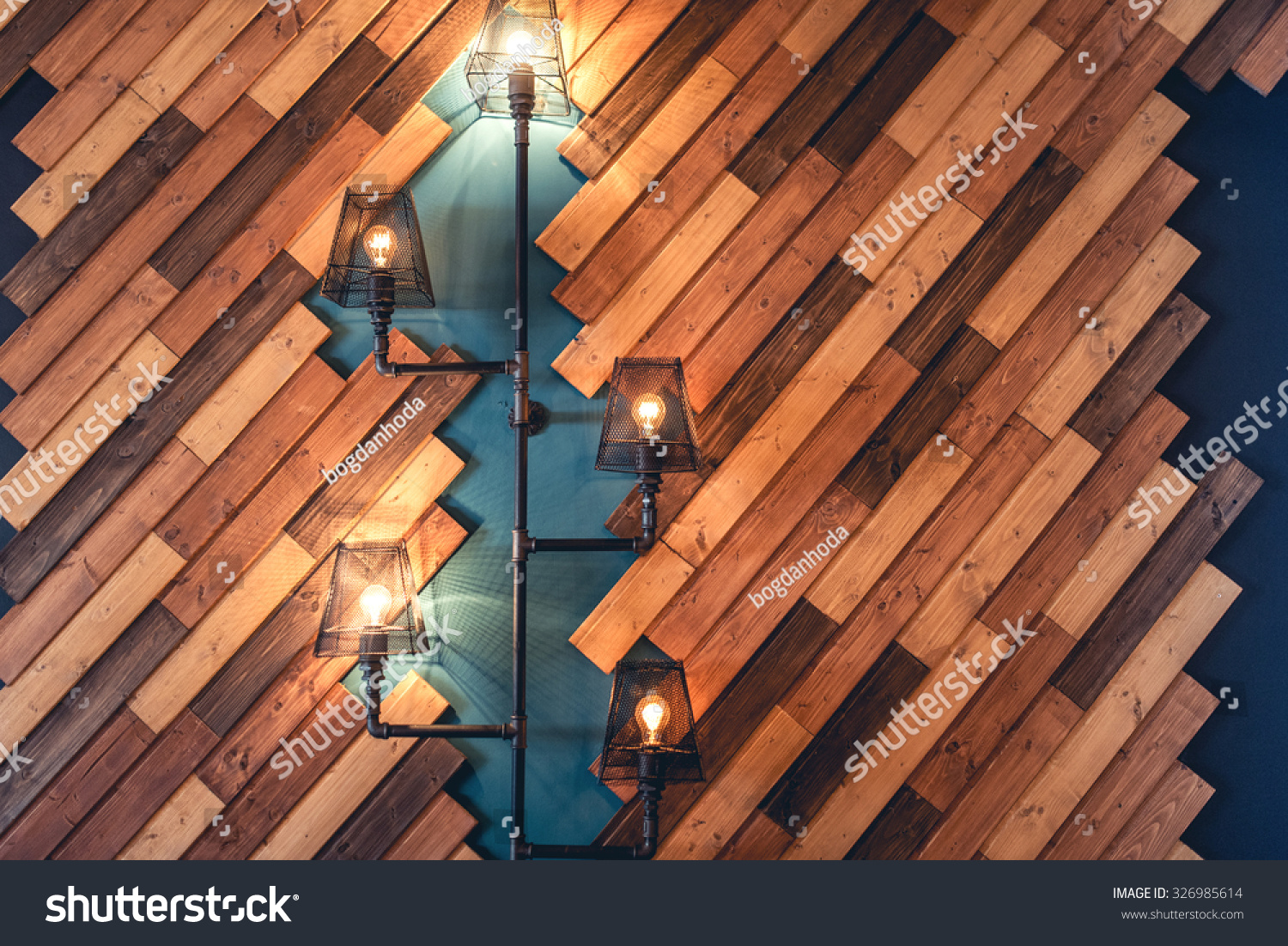 modern restaurant rustic decorative elements interior stock photo