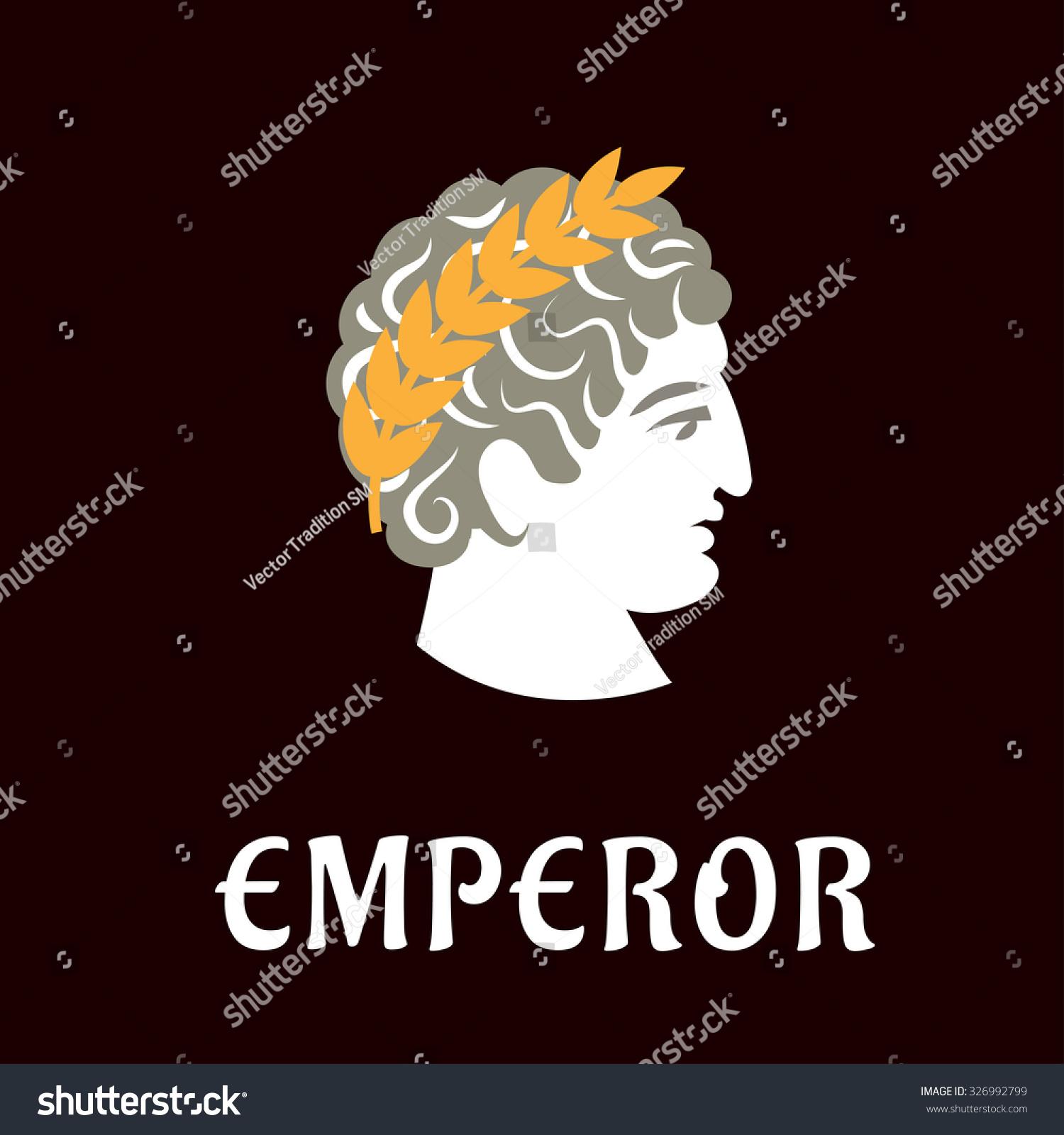 Roman Emperor Julius Caesar Head Profile With Golden Laurel Wreath On Dark Brown Background Caption