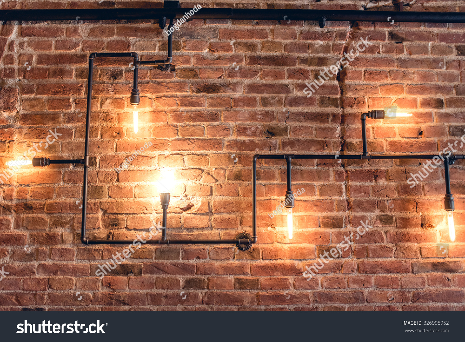 Interior Design Of Vintage Wall Rustic Brick With Light Bulbs And Pipes