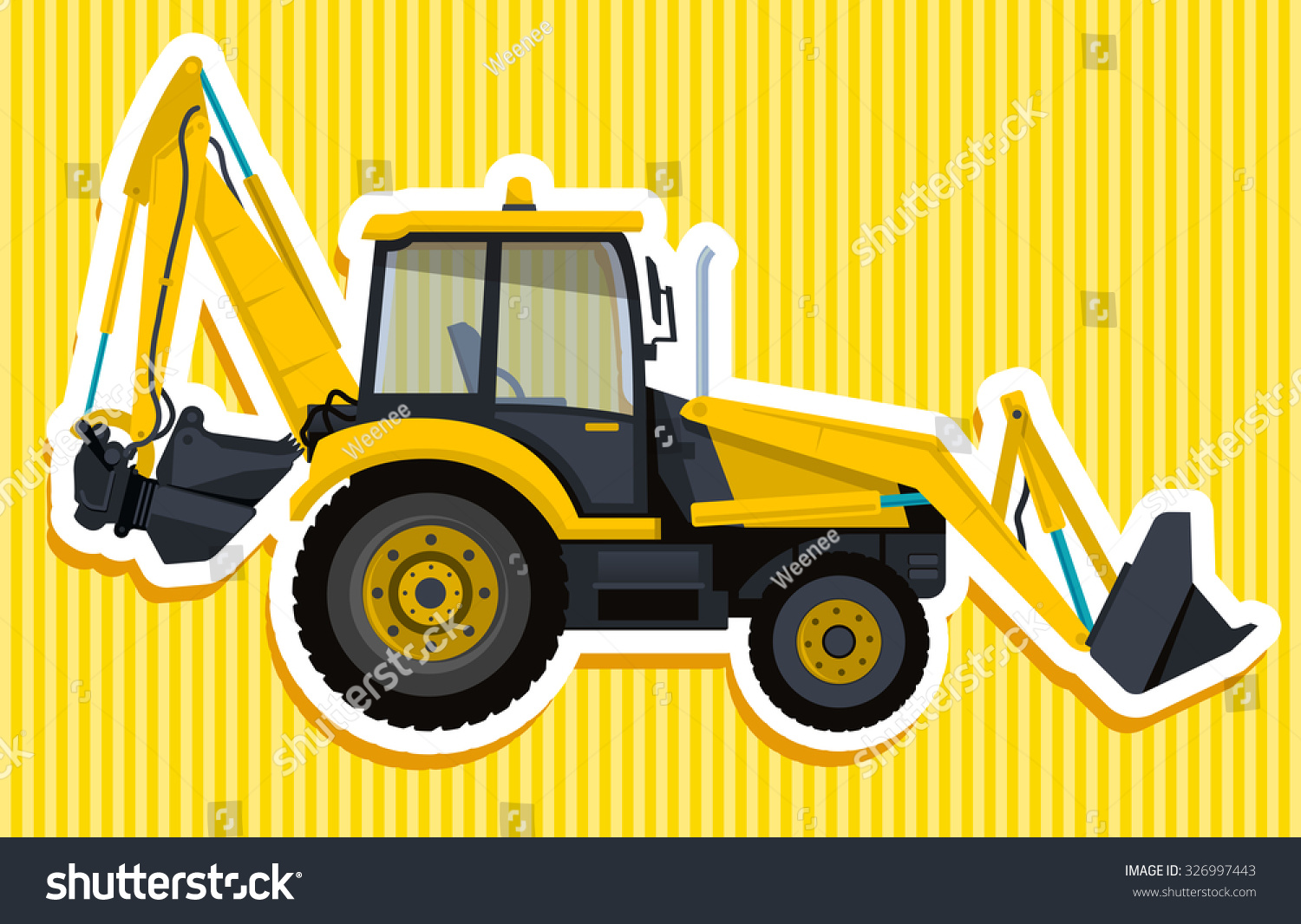 yellow big digger builds roads digging stock vector. Black Bedroom Furniture Sets. Home Design Ideas