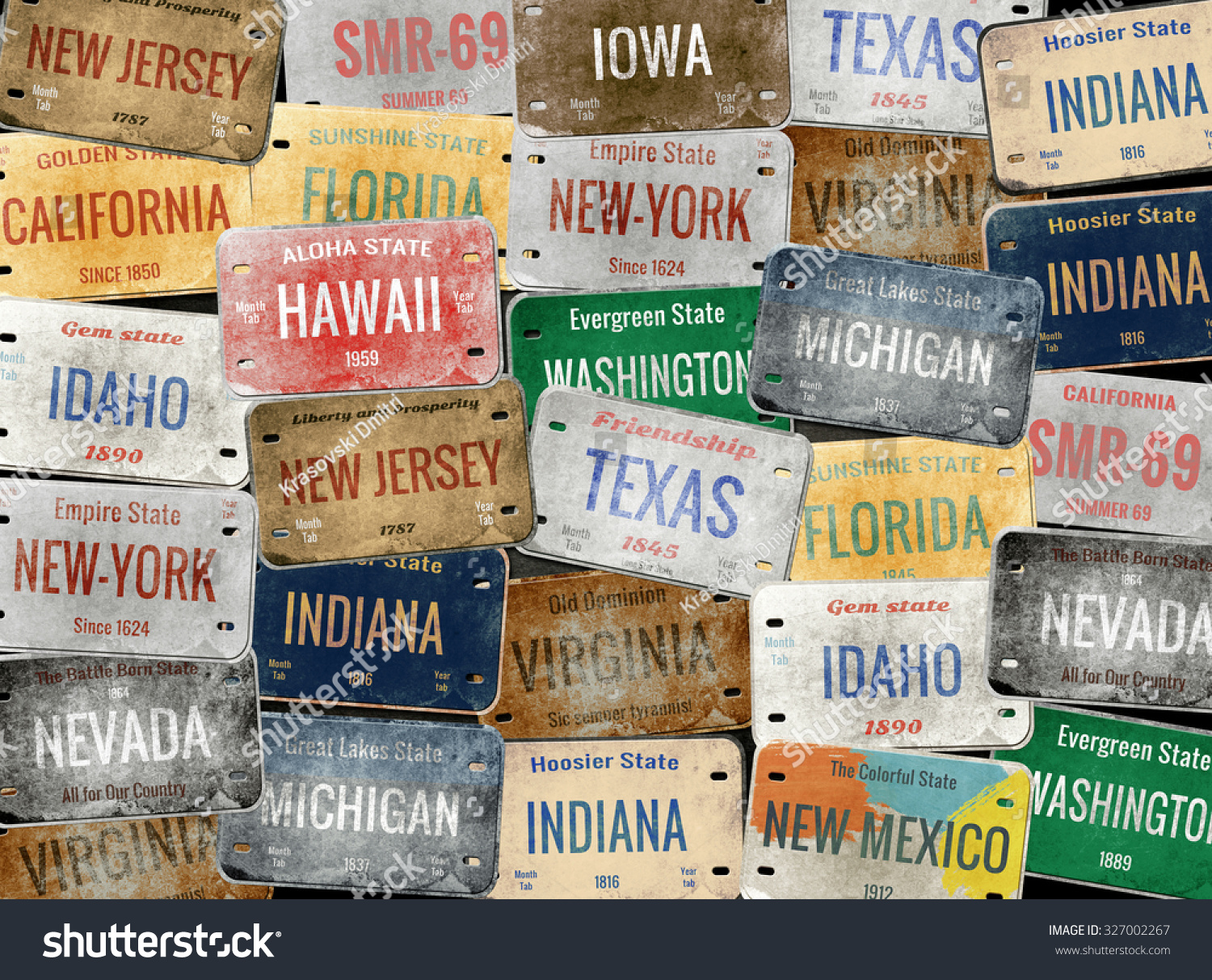 Old Car Plates Collage License Plates Stock Illustration 327002267 ...