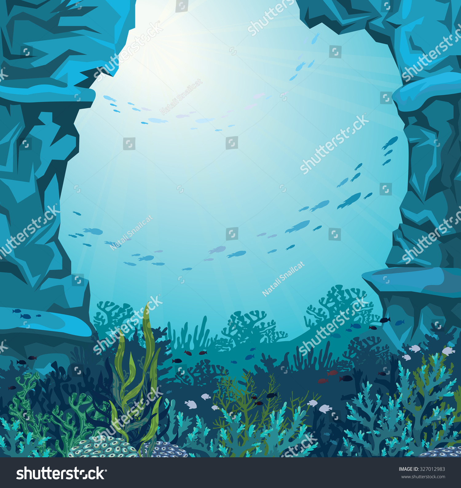 Coral Reef Background: Underwater Cave Coral Reef Silhouette Fish Stock Vector