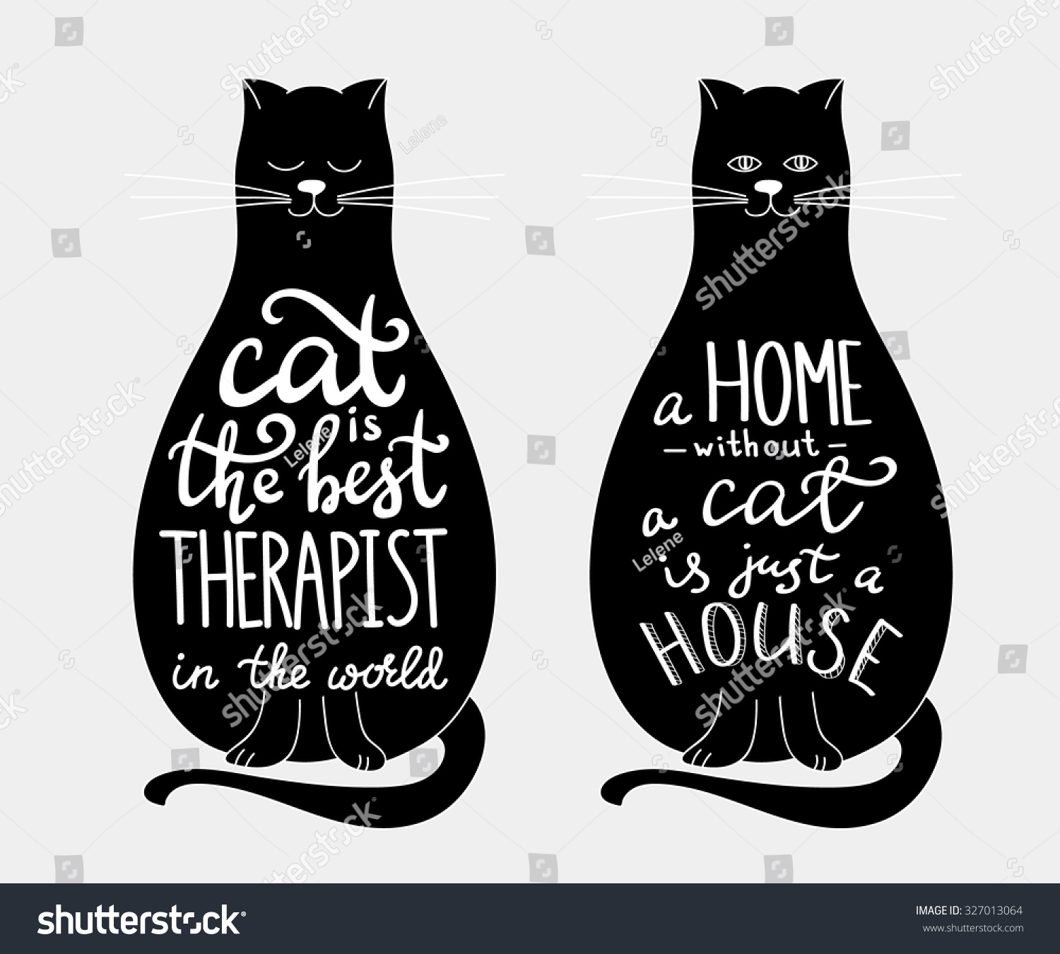Cat Quotes Calligraphy Lettering Set On Black Cats