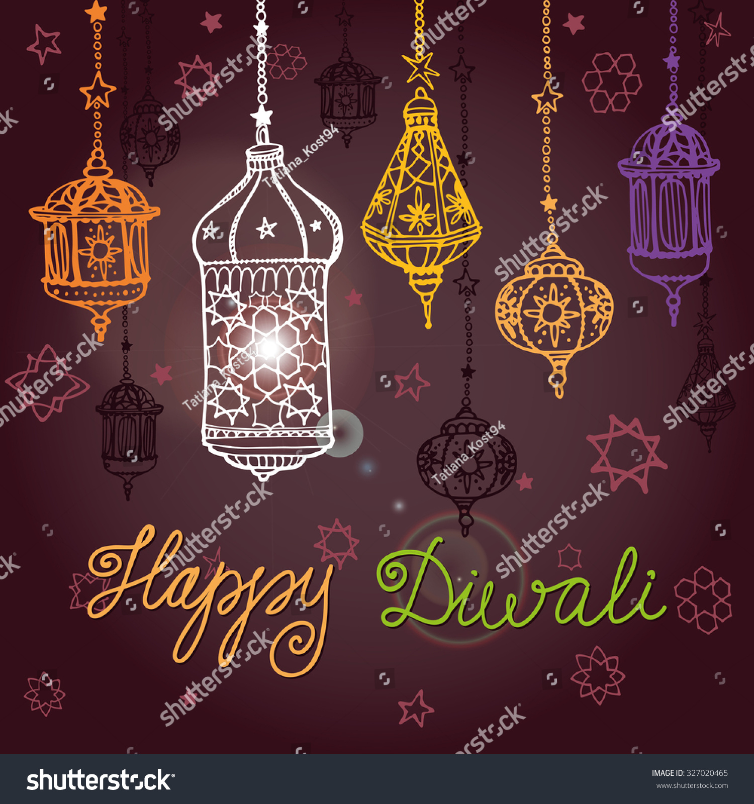 Happy Diwali Festivaltraditional Hanging Lamp Doodle Stock