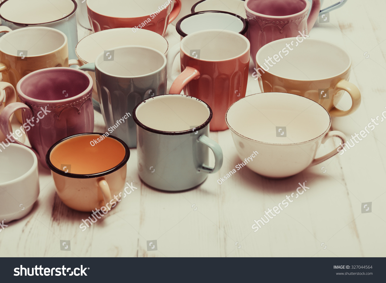 Shabby Chic Colors Style : Cups shabby chic style vintage colors stock photo edit now
