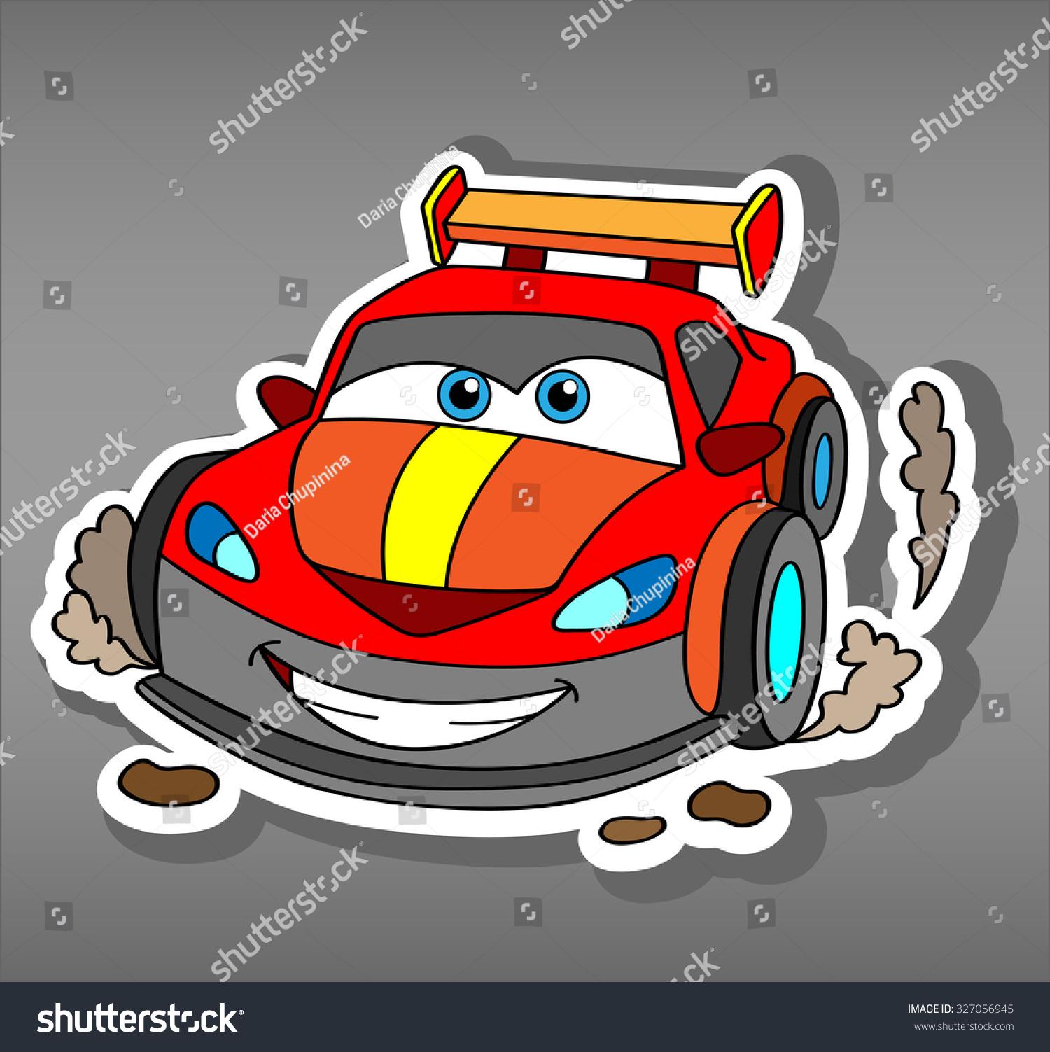 Car sticker design vector free - Cartoon Sport Red Car Sticker For Boys Vector Illustration For Scrapbook Transportation Doodle Background