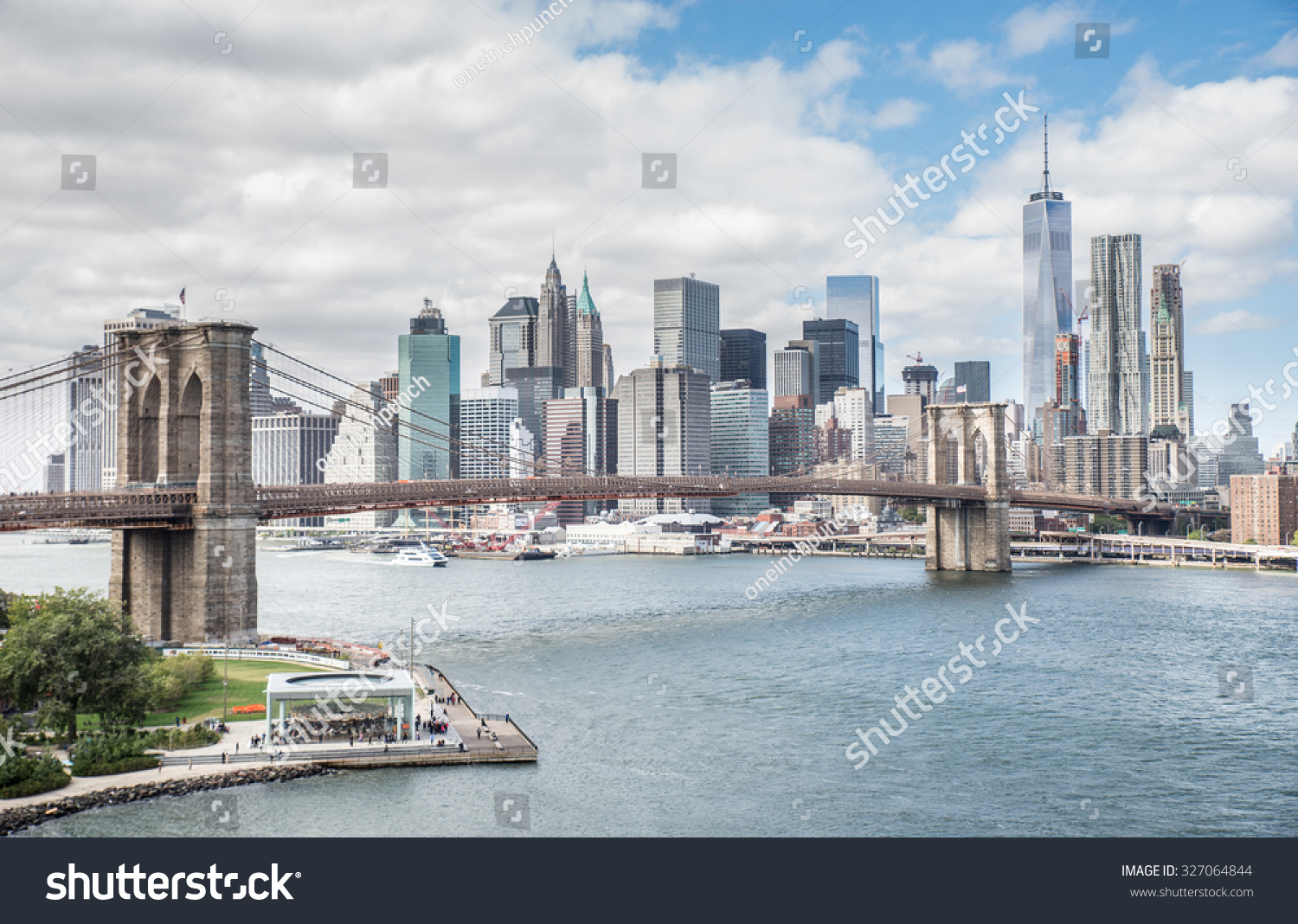 view brooklyn bridge manhattan skyline new stock photo 327064844 shutterstock. Black Bedroom Furniture Sets. Home Design Ideas