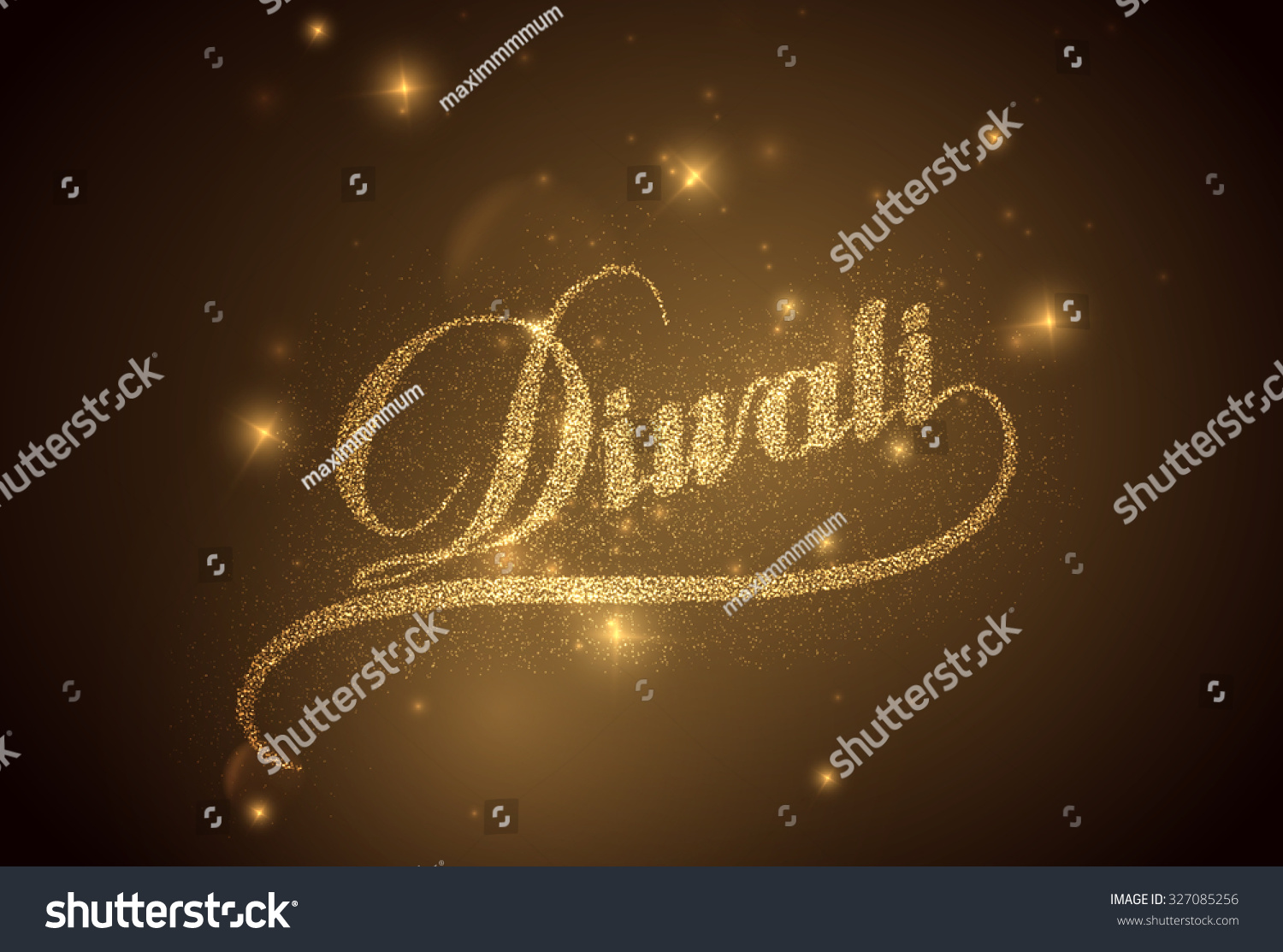 Diwali Holiday Vector Illustration Of Religion Event Deepavali Shiny Lettering Composition With Sparkles Poster Template