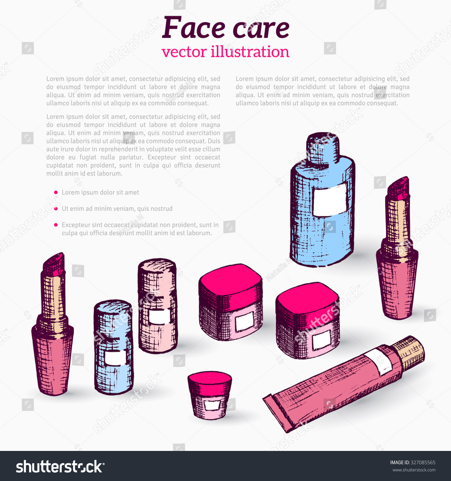hand drawn flyer template makeup products stock vector  hand drawn flyer template make up products doodle cosmetics background for beauty shop