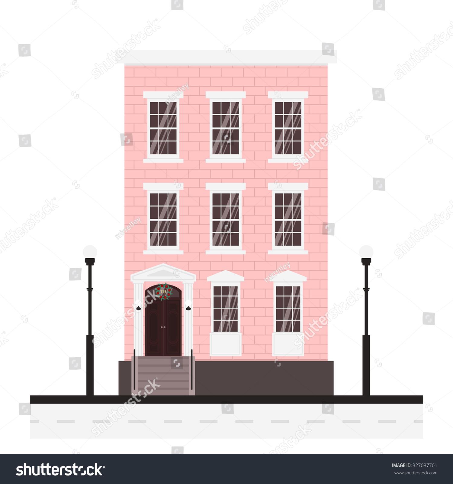 Illustration Cute Cartoon Pink House Winter Stock Vector (Royalty ...