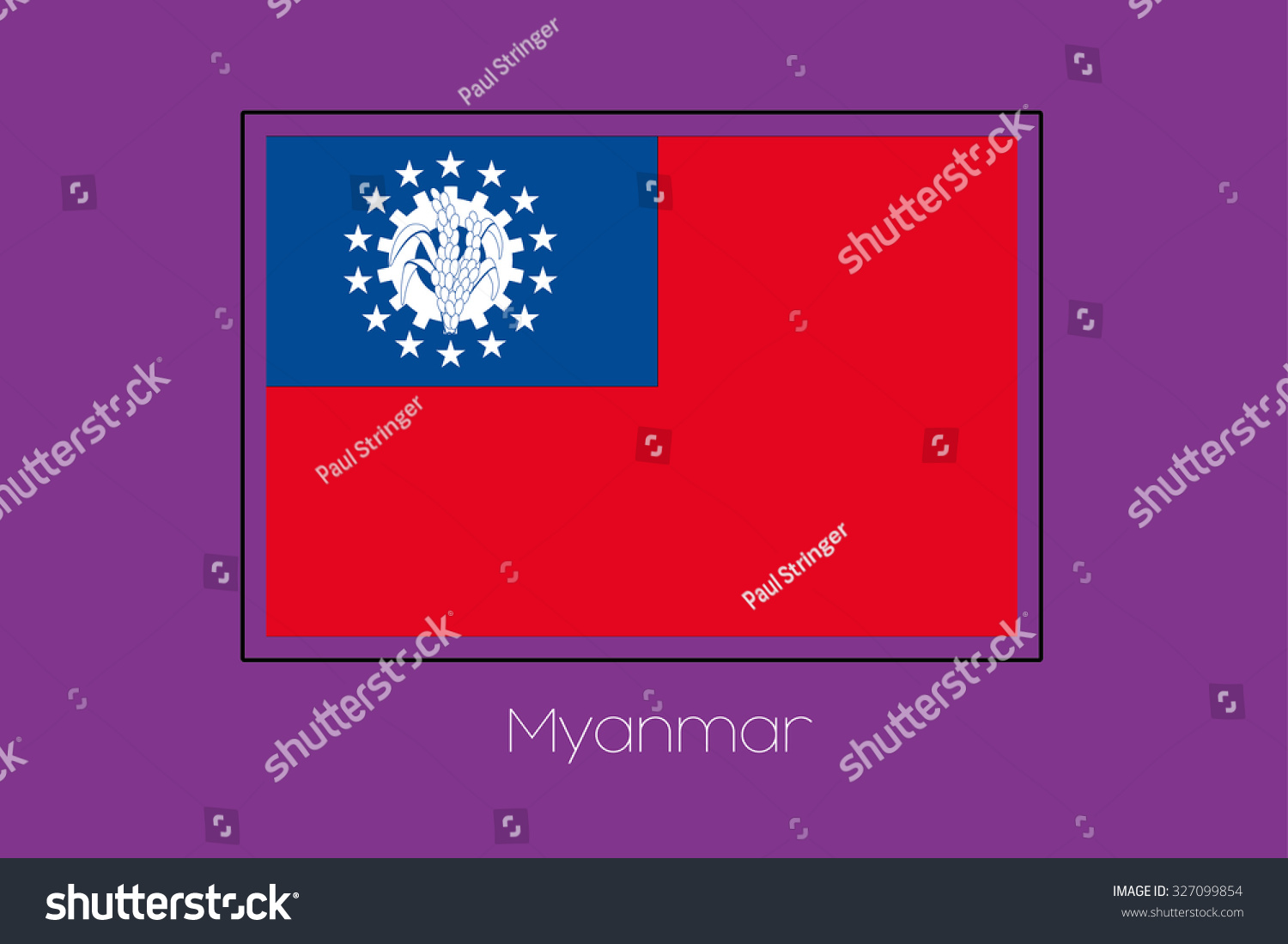 A Flag Illustration on a Purple Background of Myanmar