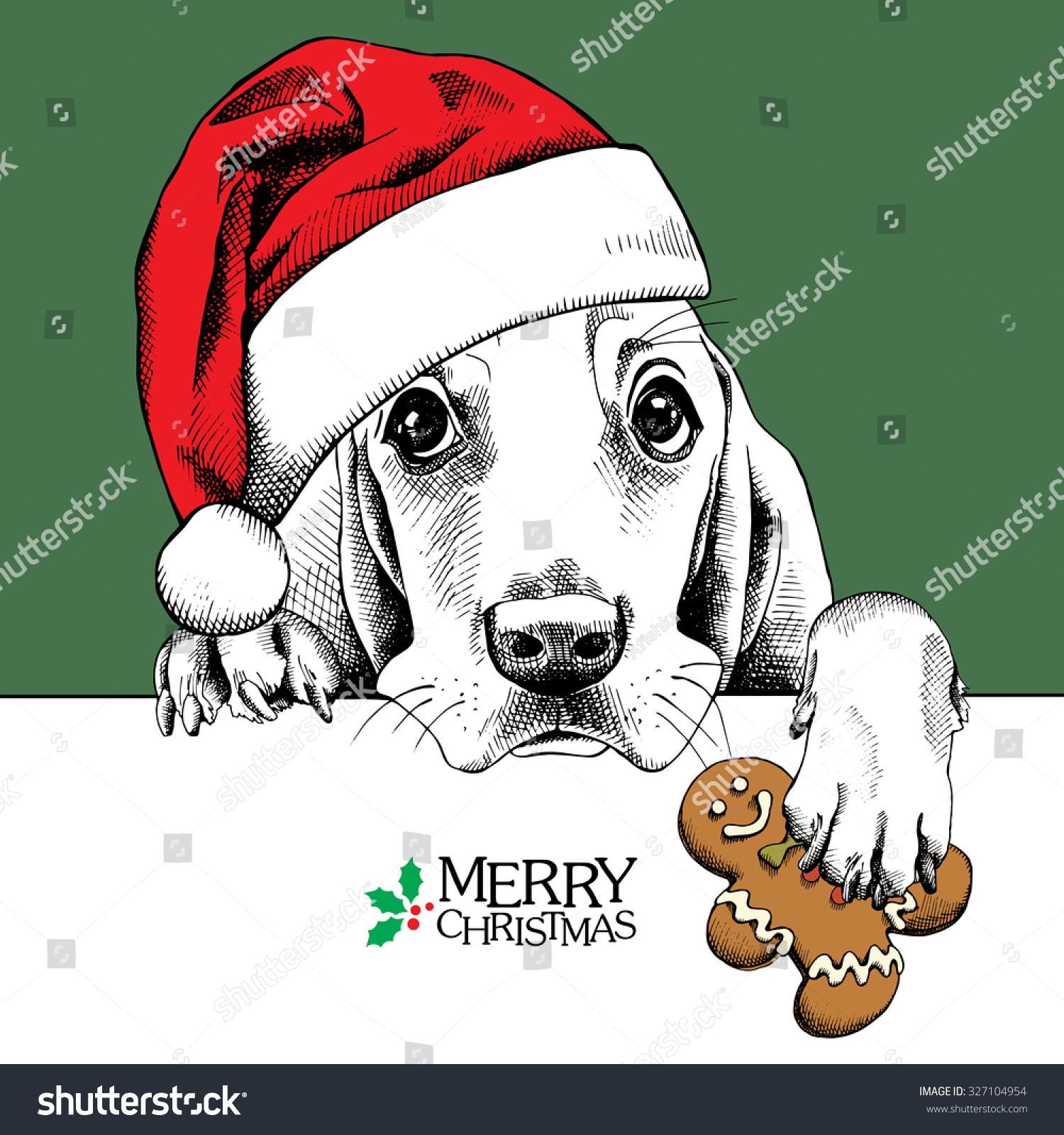 Christmas Card Dog Basset Hound Portrait Stock Vector (Royalty Free ...