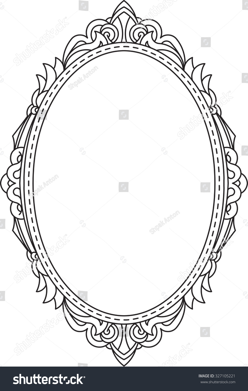 antique vintage oval frame with blank space for text may be used as
