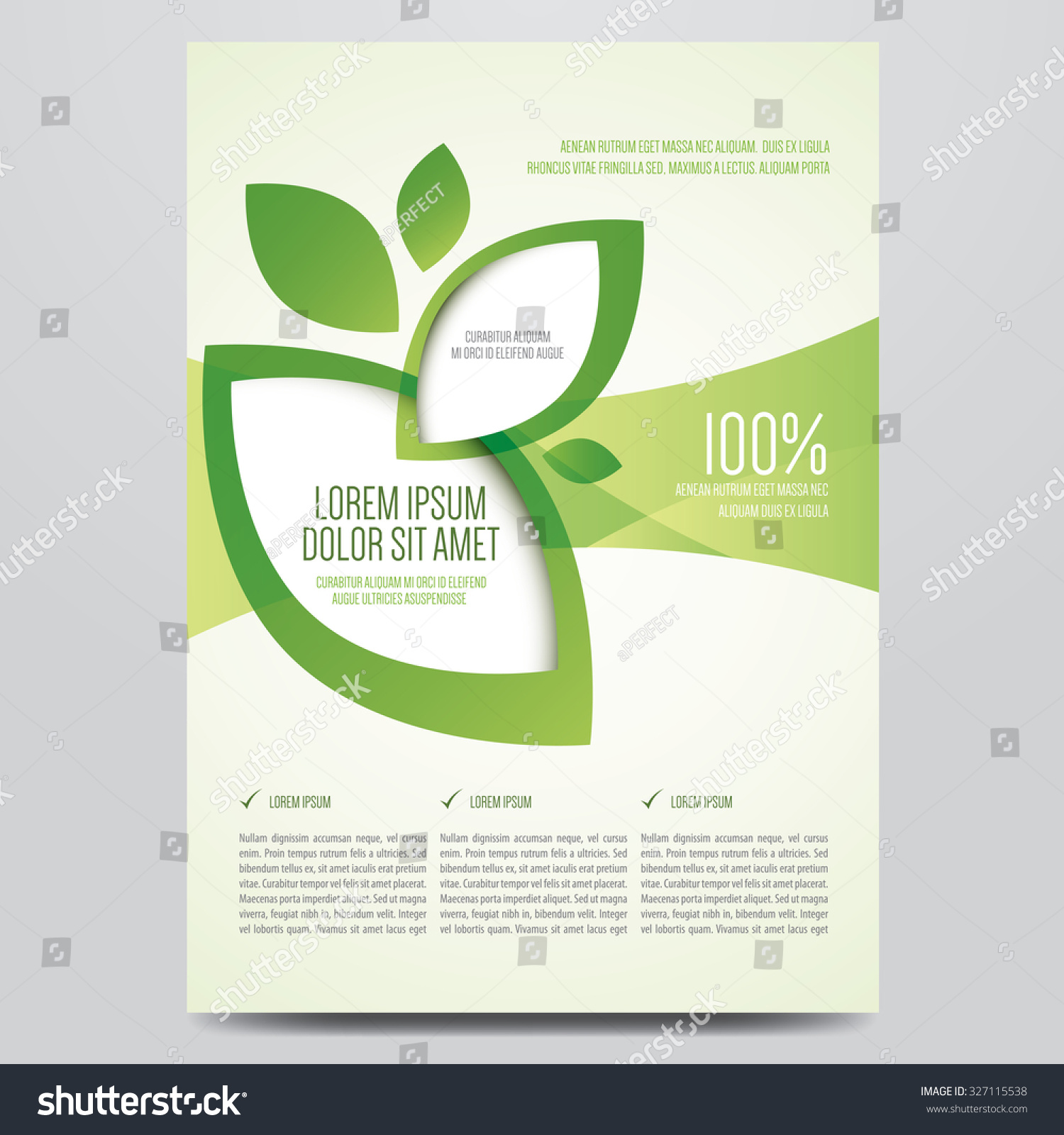 Vector Eco Flyer, Poster, Brochure, Magazine Cover Template. Modern Green  Leaf,  Cover Template