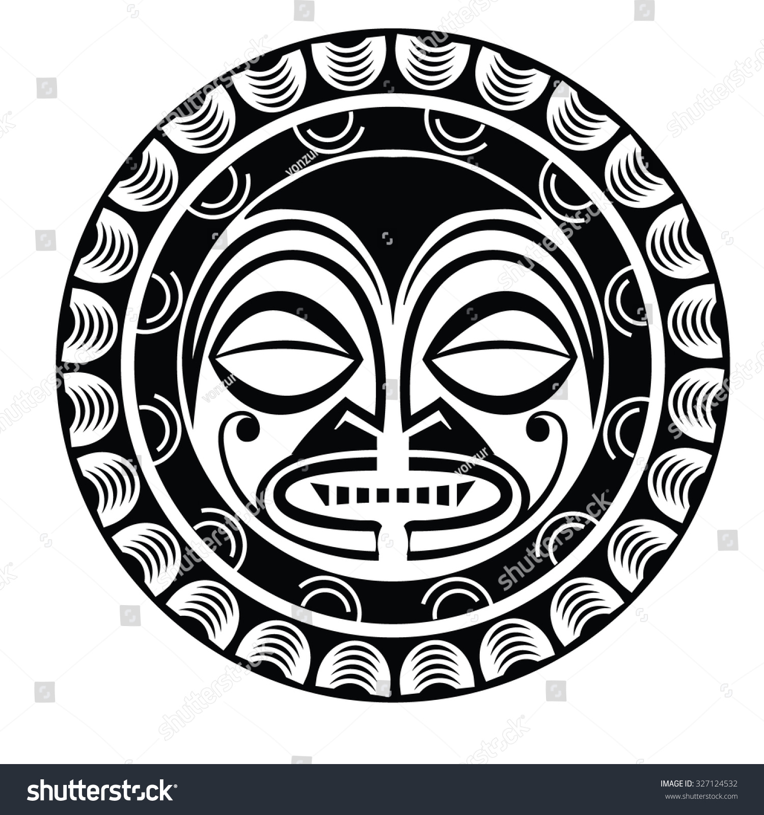 Tiki humanlike figure that represents polynesian stock for Polynesian tiki tattoo