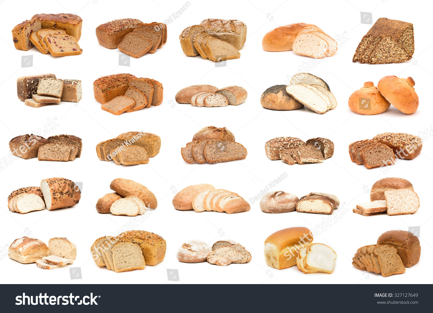Collection Various Types Breads Isolated Over Stock Photo ...