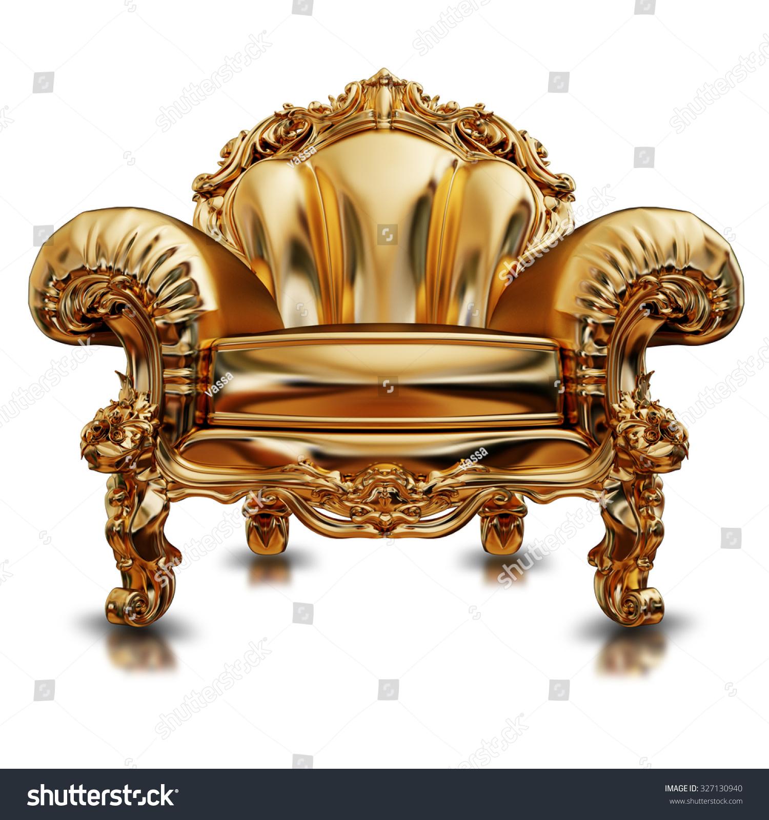 Illustration Golden Chair High Resolution 3d Stock Illustration