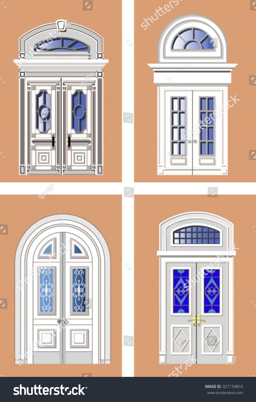 Different types of interior doors in retro style