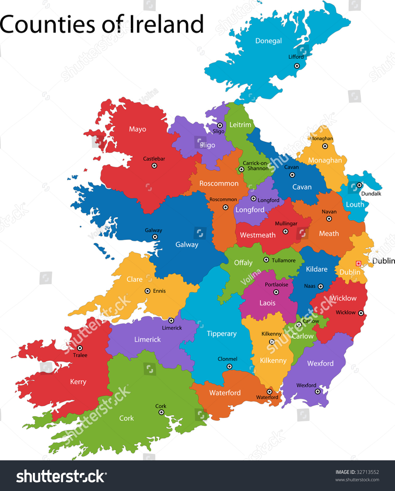 Map Of Ireland With Counties And Towns.Ireland Map Towns