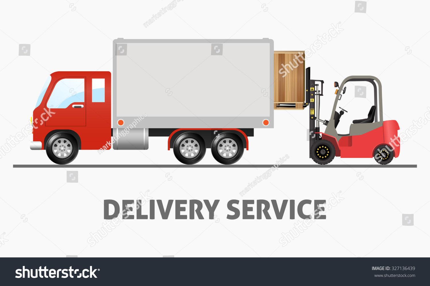 Delivery Service Shipping Truck and Forklift