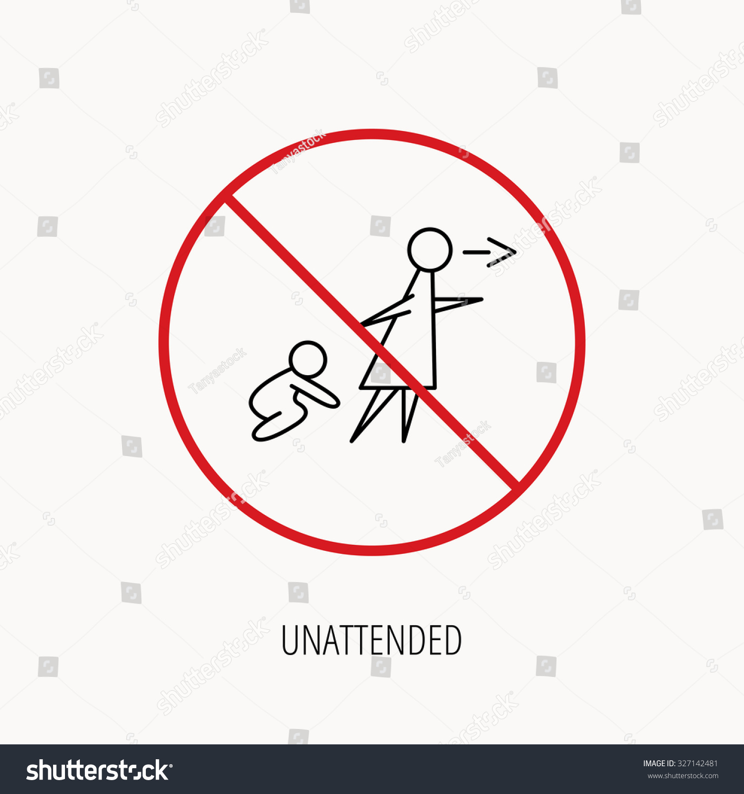 stop ban sign unattended baby icon stock vector 327142481 stop or ban sign unattended baby icon babysitting care sign do not leave
