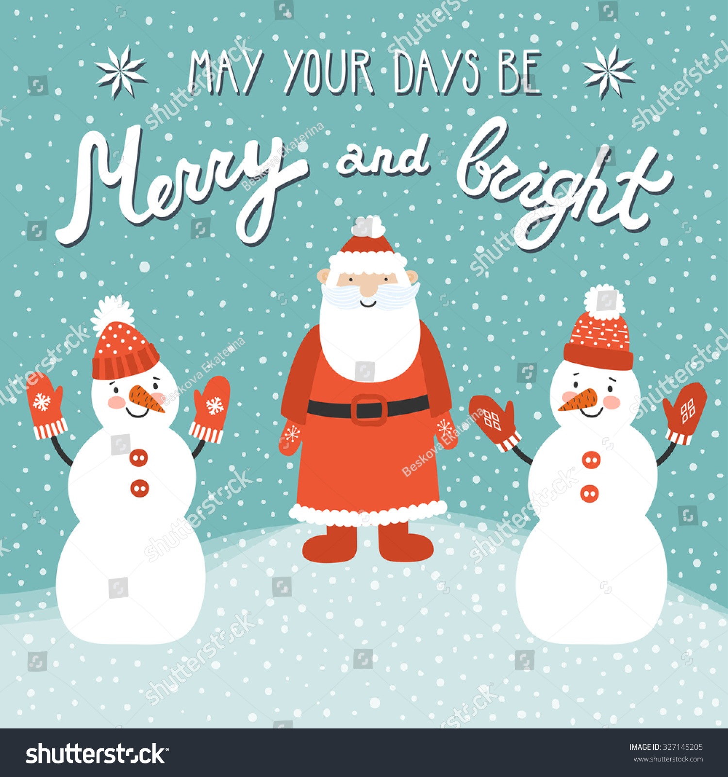 Christmas Card Santa Claus Two Snowmen Stock Vector (Royalty Free ...