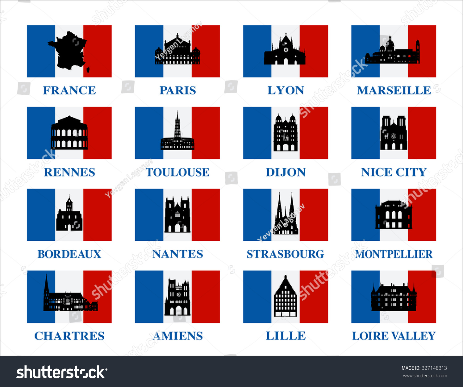 Vector symbols france famous places france stock vector 327148313 vector symbols of france famous places in france biocorpaavc