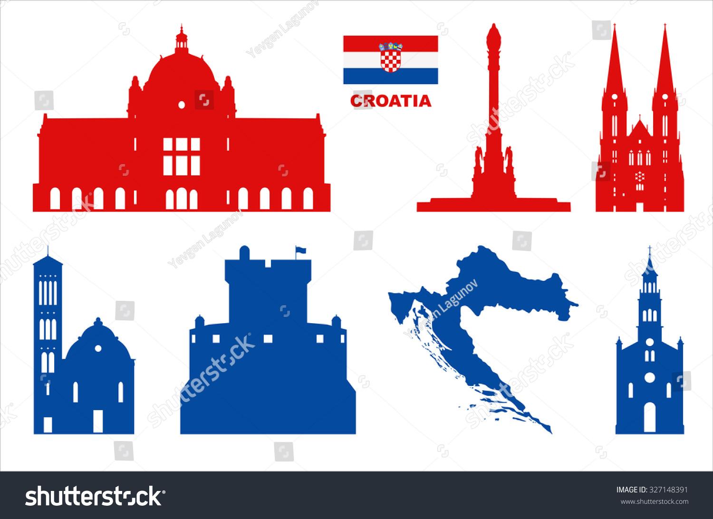 Vector Symbols Croatia Stock Vector Royalty Free 327148391