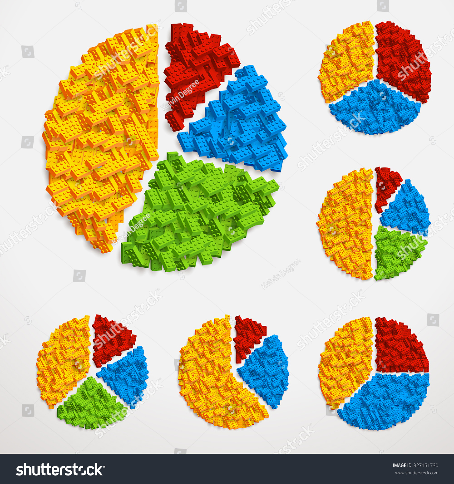 Vector Set Pie Charts Made Piles Stock Vector (Royalty Free ...