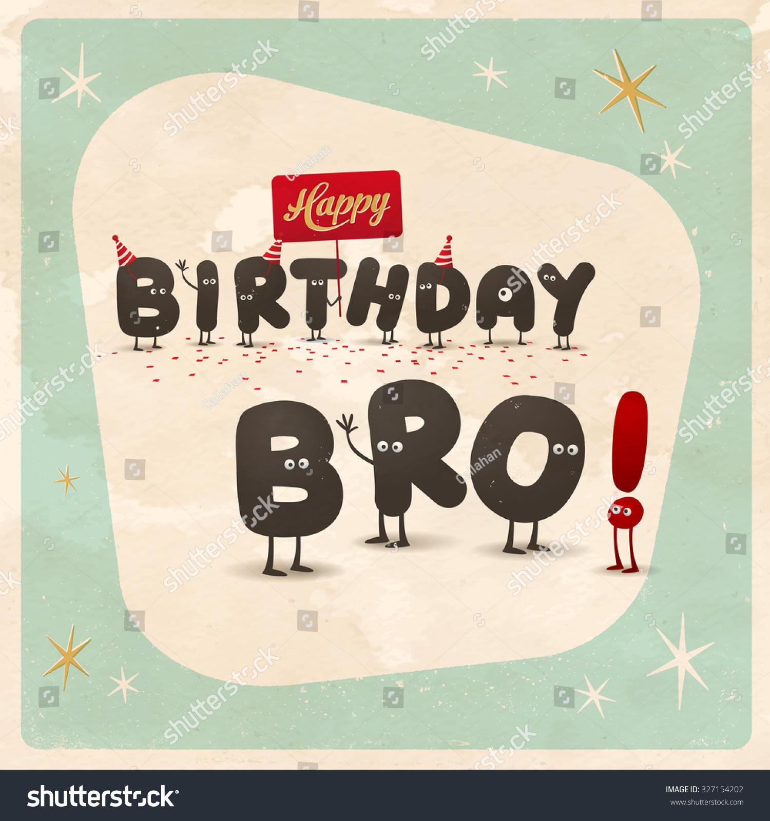 Vintage Style Funny Birthday Card Happy Stock Vector