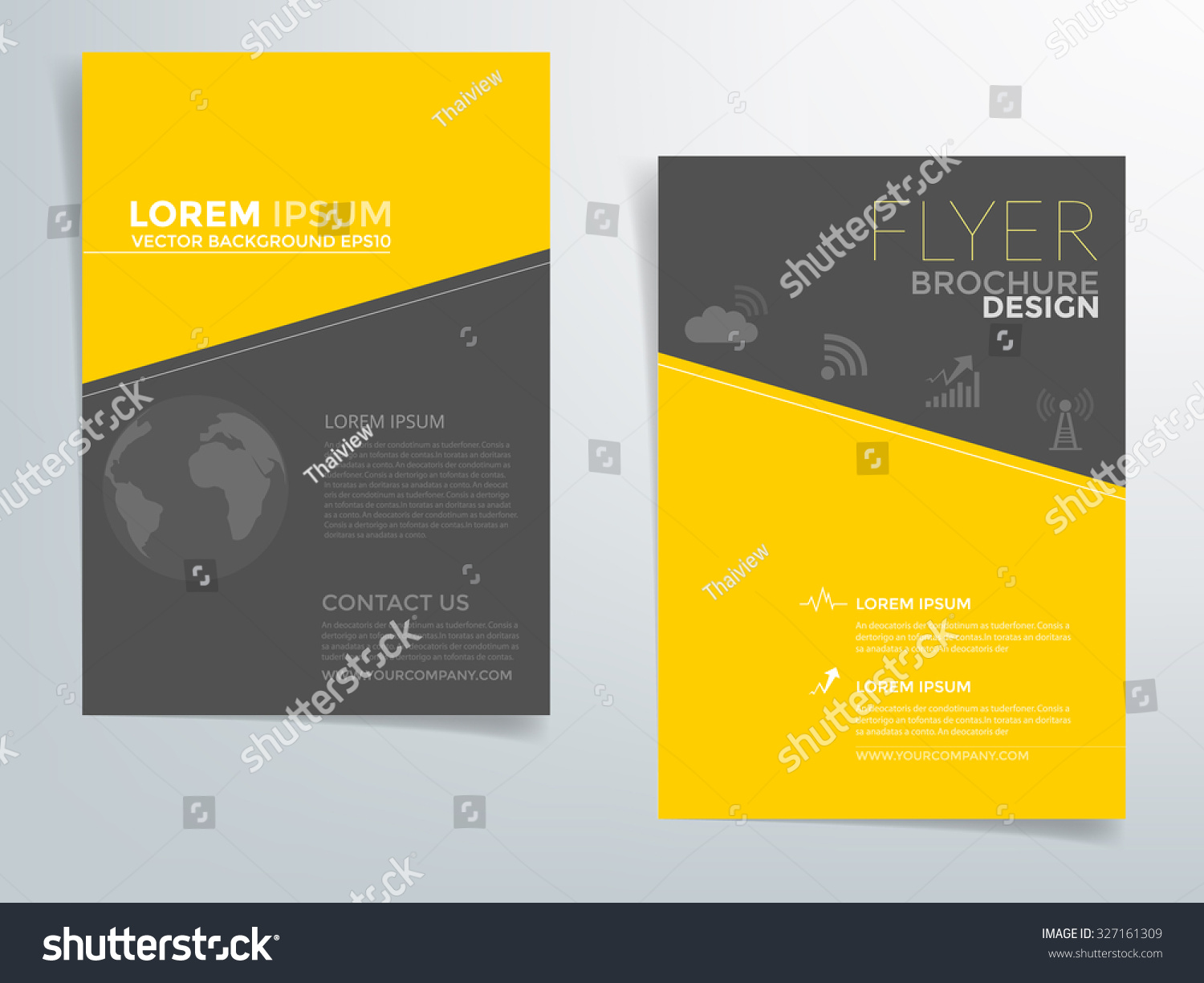 black brochure template - brochure template flyer design vector background with