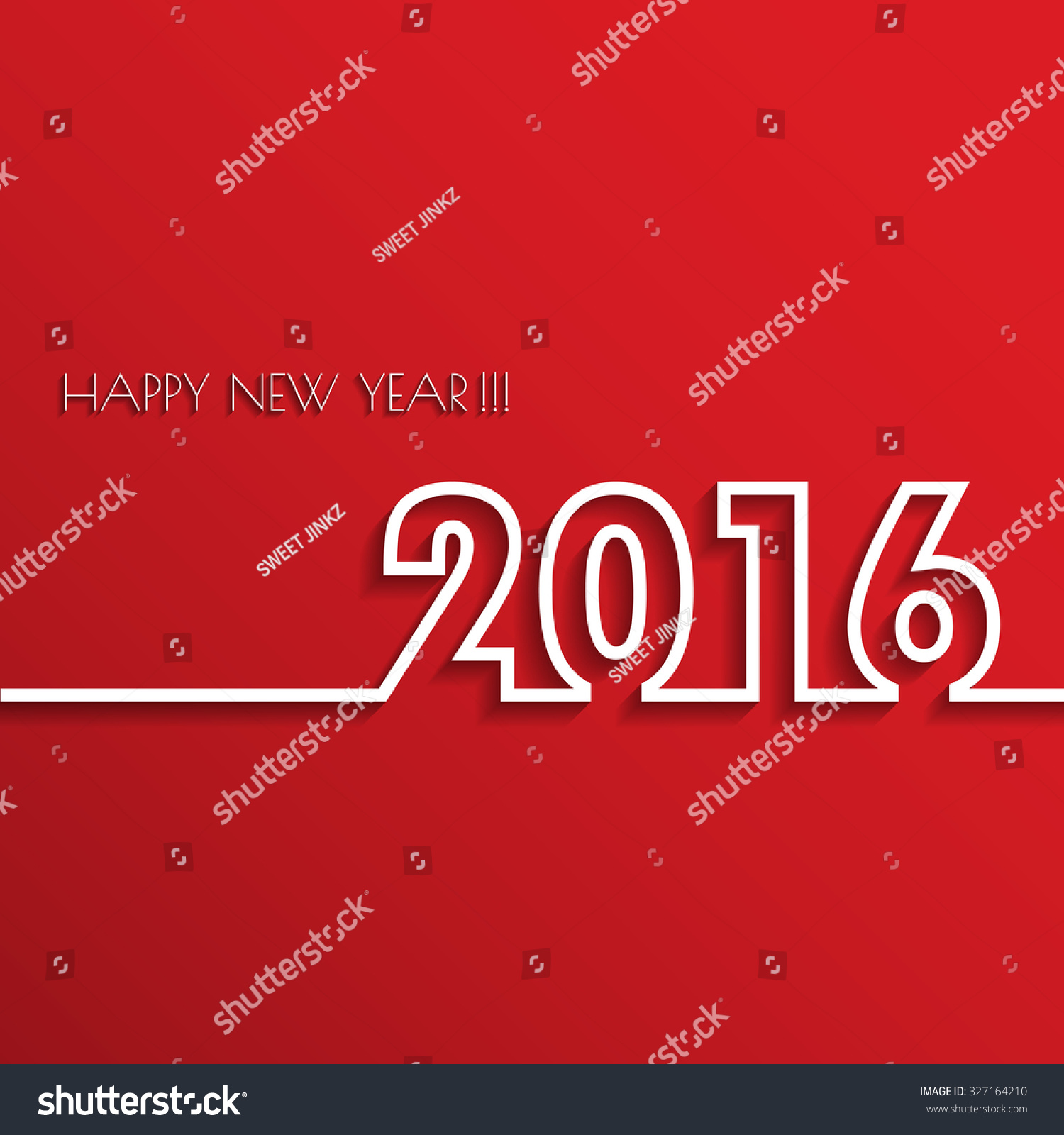 vector modern red simple happy new year 2016 card with a long shadow effect vector