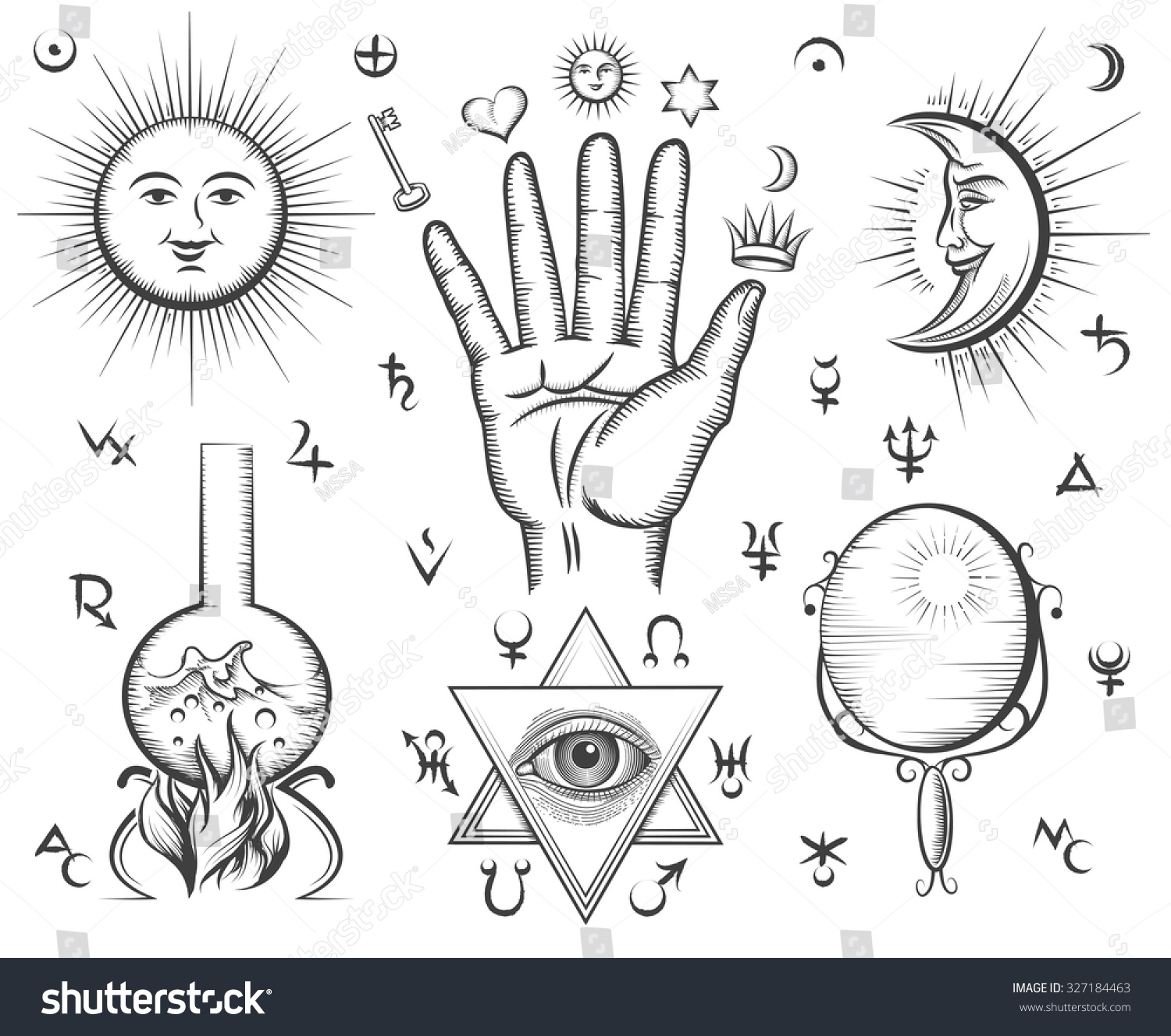 Alchemy Spirituality Occultism Chemistry Magic Tattoo Stock Vector