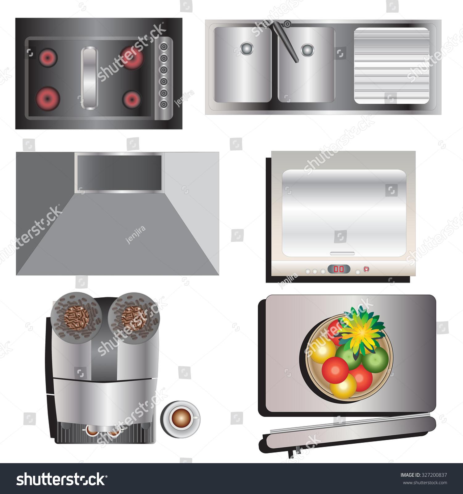 Kitchen Equipment Top View Set 7 Stock Vector Shutterstock