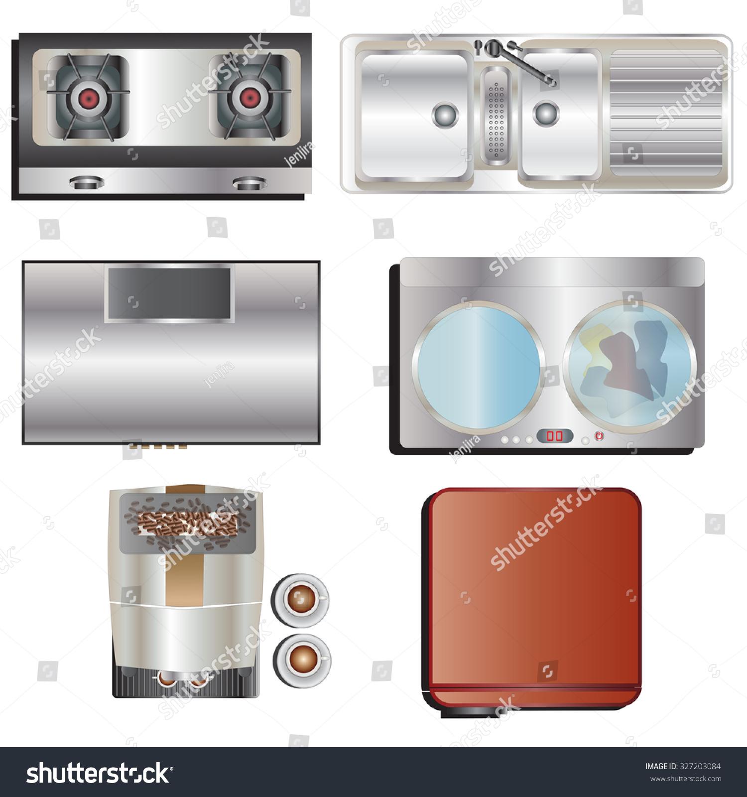 Kitchen Set Top View: Kitchen Equipment Top View Set 8 Stock Vector 327203084