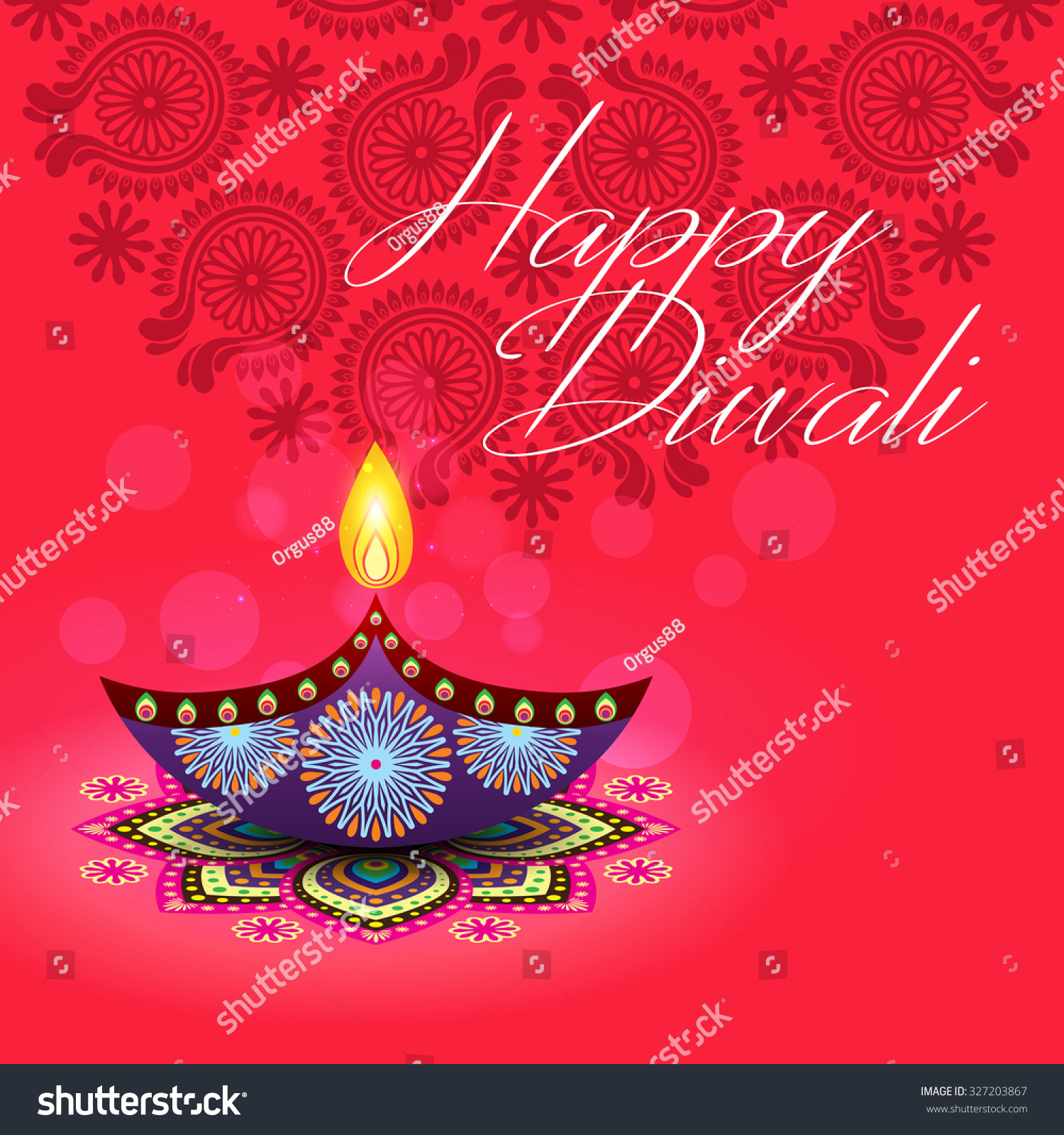 Beautiful Greeting Card For Hindu Community Festival Diwali Happy