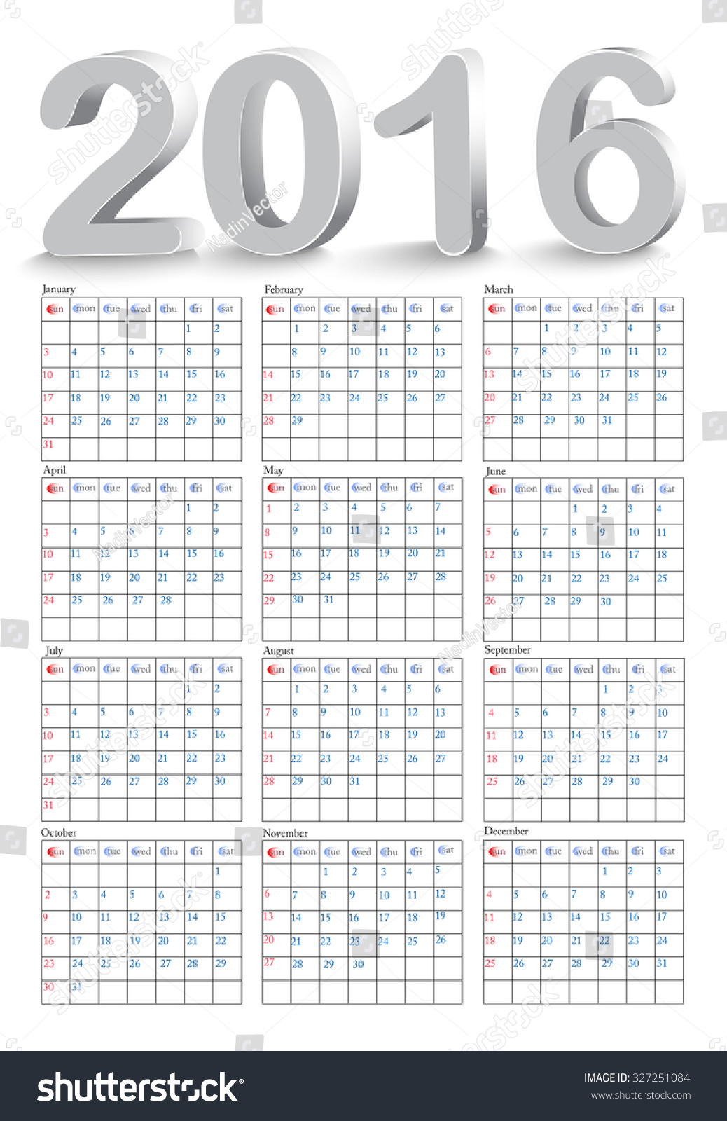 Horizontal Calendar Design : Simple calendar design horizontal week starts with