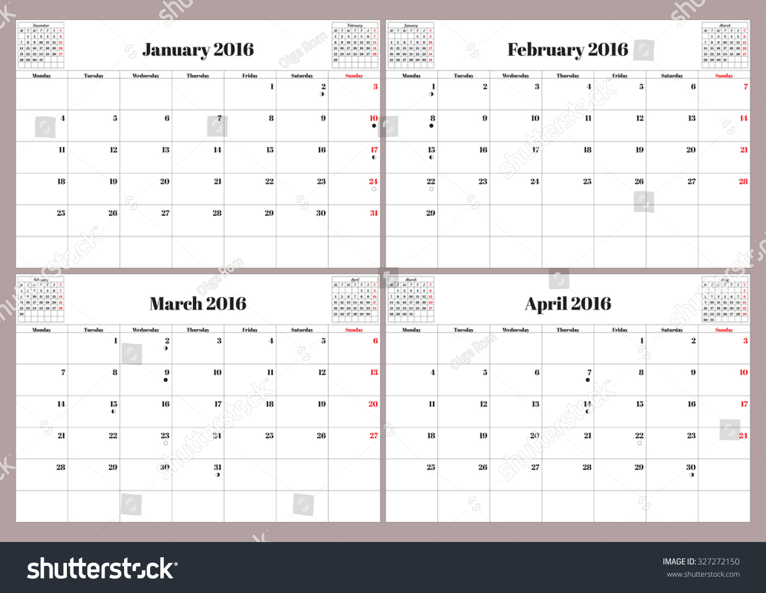 Calendar January April : Vector english planning calendar year stock