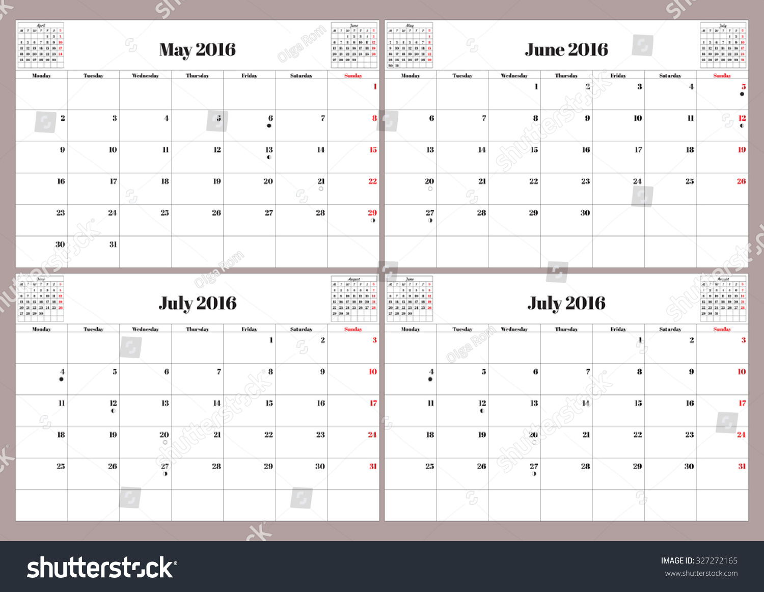 june and july calendar