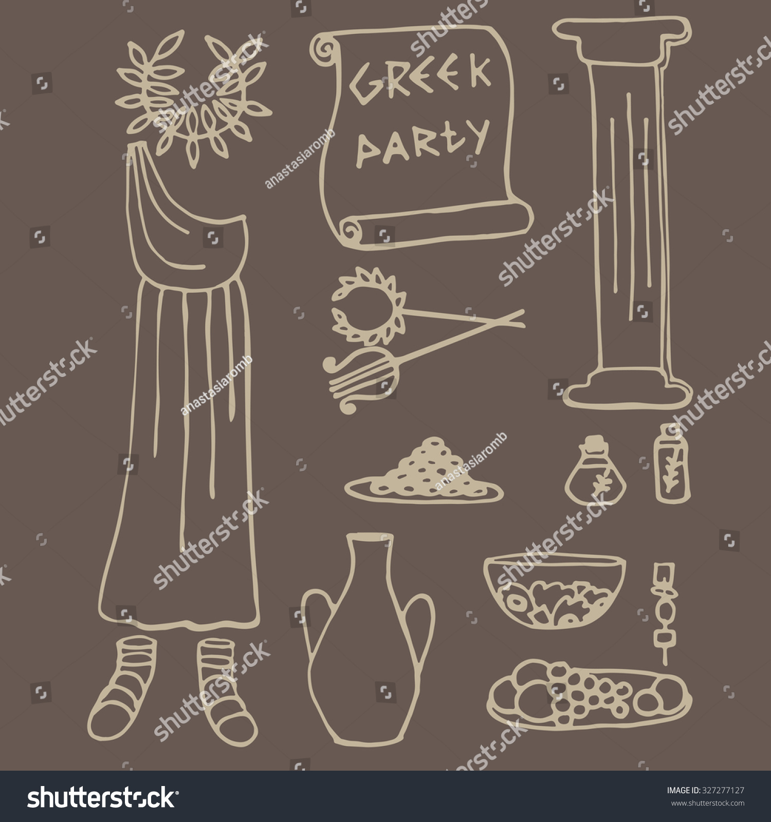 Doodle set ancient greek party ideas stock vector for Ancient greek decoration