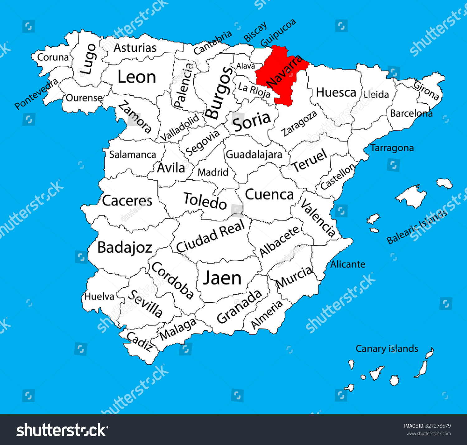 Navarra Map Spain Province Vector Map Stock Vector (Royalty Free